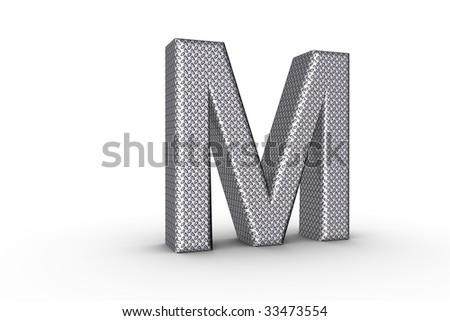M Alphabet In Diamond 3D Font Alphabet Letter M in diamond metal tread plate texture on ...