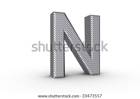 3D Font Alphabet Letter N in diamond metal tread plate texture on white Back Drop.