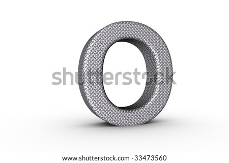 3D Font Alphabet Letter O in diamond metal tread plate texture on white Back Drop.