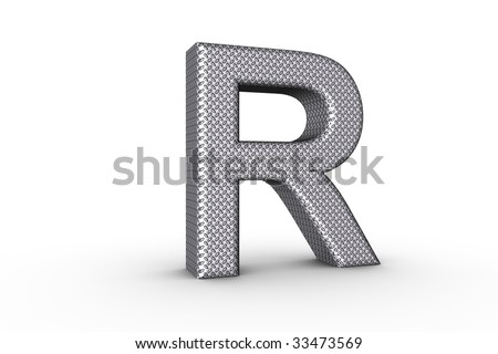 3D Font Alphabet Letter R in diamond metal tread plate texture on white Back Drop.