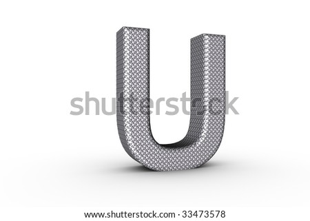 3D Font Alphabet Letter U in diamond metal tread plate texture on white Back Drop.