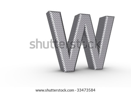 3D Font Alphabet Letter W in diamond metal tread plate texture on white Back Drop.