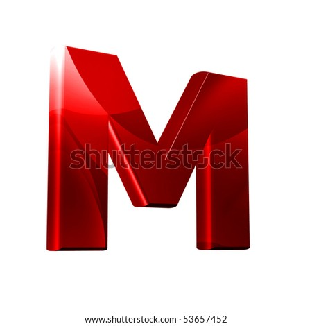 m 3d logo  3D font with abstract red