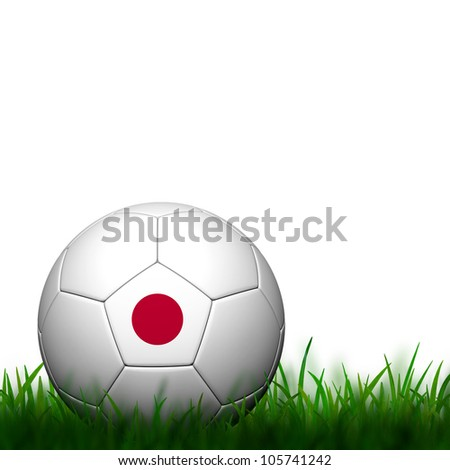 3D Football Japan Flag Patter in green grass on white background