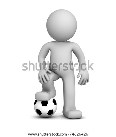 3d football player. Isolated