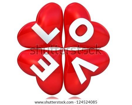 3d four red hearts with word love