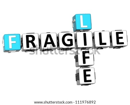 3D Fragile Life Crossword on white background