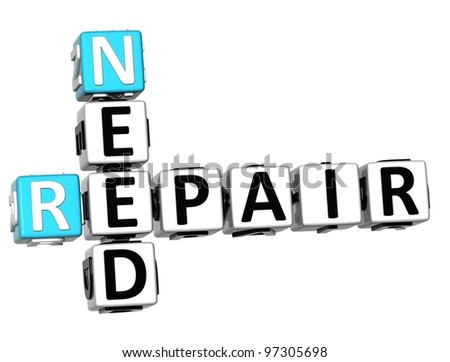 3D Free Fix and Repair Need Crossword on white background