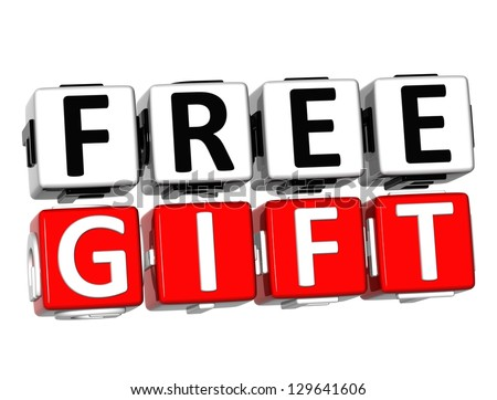 3D Free Gift Button Click Here Block Text over white background