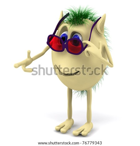 3d funny character puppet with red glasess
