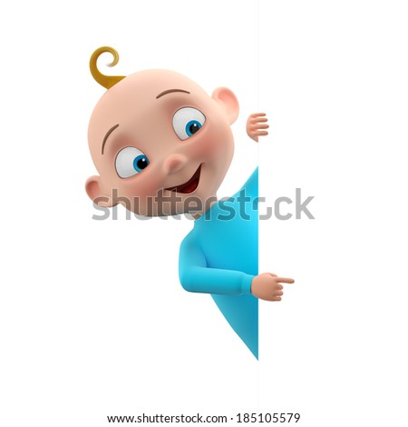 3d funny character, sweet blue-eyed baby boy icon, smiling cartoon child in blue outfit isolated peeping from behind a white sheet of paper, pointing finger