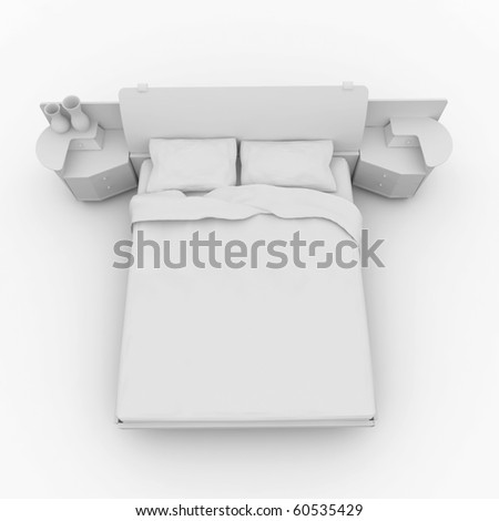 3d furniture detailed bed isolated on white
