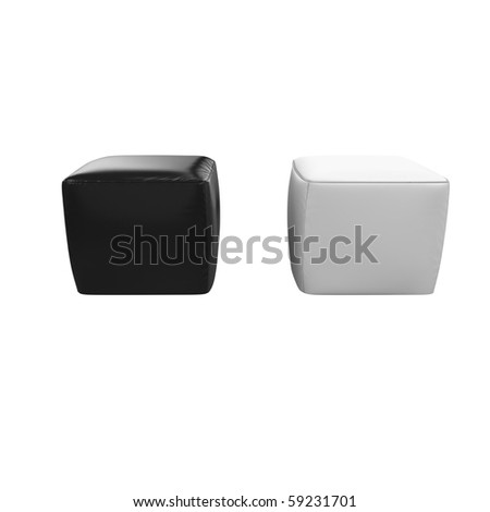 3d furniture two cube chairs black and white