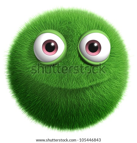 3d furry monster - stock photo