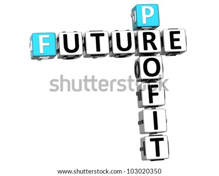 3D Future Profit Crossword on white background