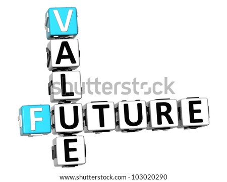 3D Future Value Crossword on white background