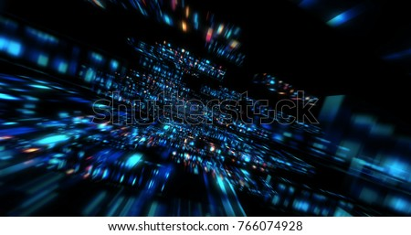 3D Futuristic abstract background. Motion graphic for abstract data center, server, internet, speed.