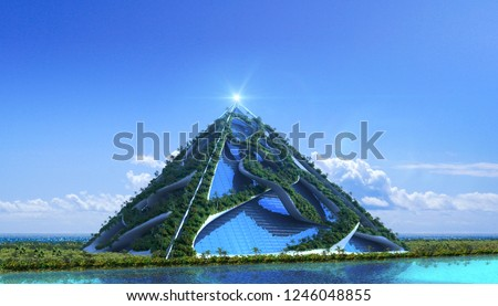 3D futuristic green architecture with a glass pyramid enclosed in vine-like structures covered with trees and a vertical garden, against a marina skyline, for fantasy or science-fiction illustrations.