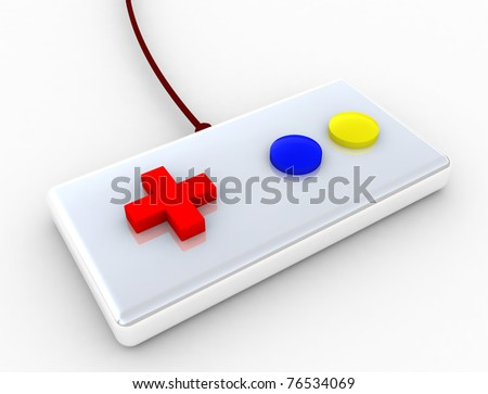 3d game controller joystick isolated on white