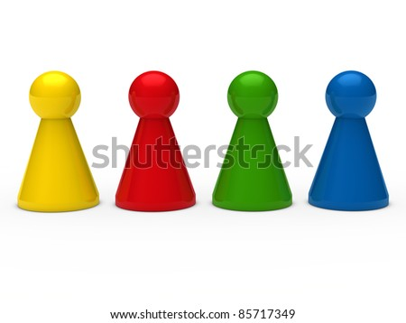 3d game figure team blue red green