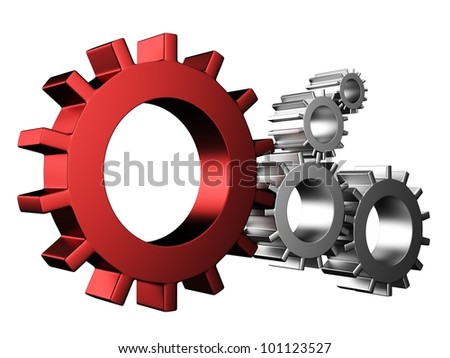 3D Gear...The mechanism... Isolated on white background