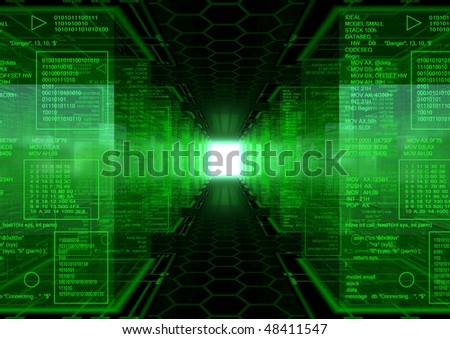 3d generated abstract background with a hex pattern floor  an a lot of cubes with green assembly text