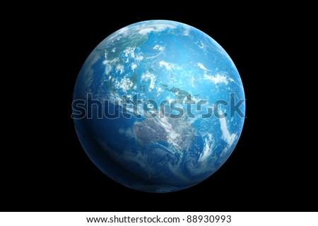 3d generated blue earth, australia and oceania