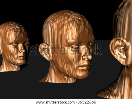 3d generated golden colored human heads aligned viewed from the side