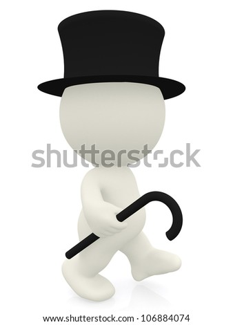 3D Gentleman walking - isolated over a white background - stock photo