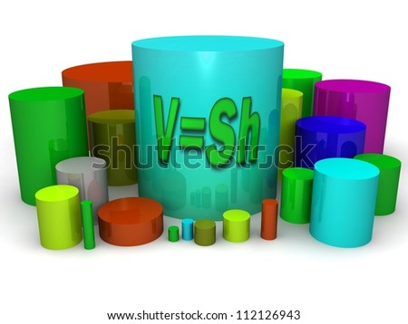 3d Geometric shapes. Area of the cylinder. Section geometry. Figure on a white background. - stock photo