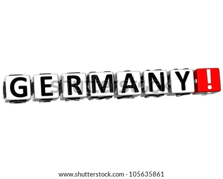 3D Germany Button Click Here Block Text over white background