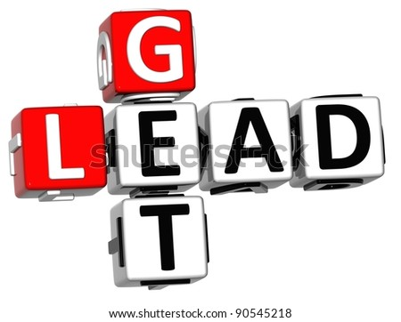 3D Get Lead Crossword on white backgound - stock photo