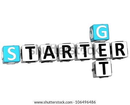 3D Get Started Crossword on white background - stock photo