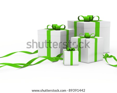3d gift box white with green ribbon