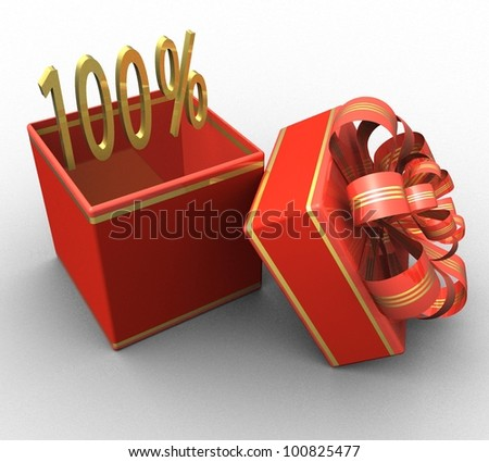 3d gift box with a sign 100% discount on a white background isolated