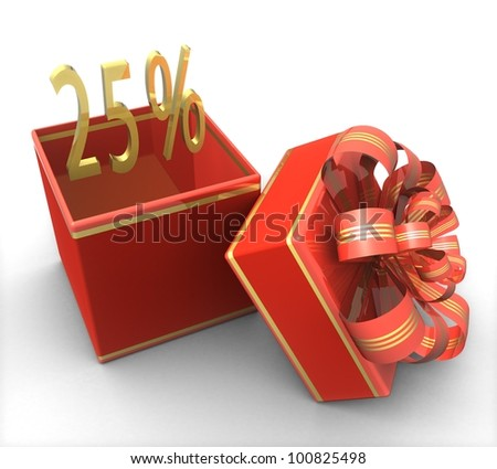 3d gift box with a sign 25% discount on a white background isolated