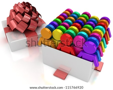 3d gift box with rainbow puppets