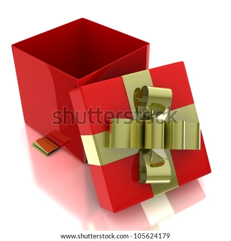 3d gift box with ribbon