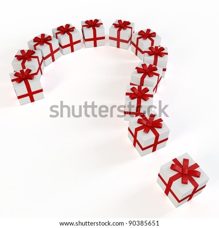 3d gift boxes  with answer mark on white background
