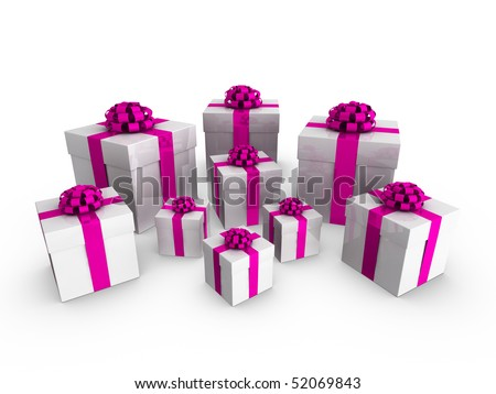 3d gift boxes with bows and ribbons on a white background