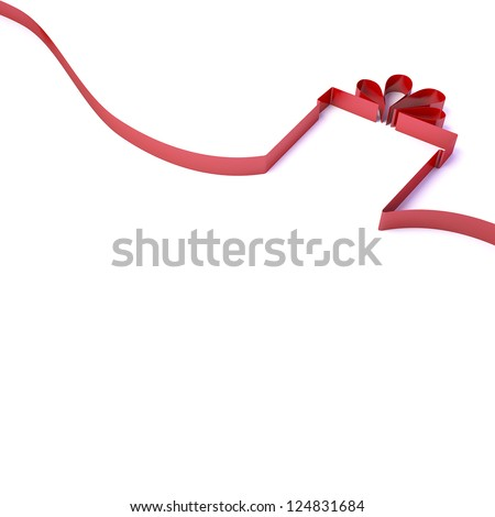 3d Gift from a red ribbon