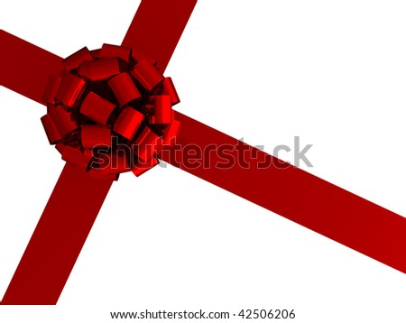3d gift wrap bow and ribbon on a white background