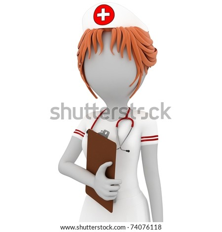 3d girl doctor with notepad isolated on white