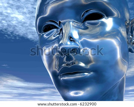 3D girl  head  - futuristic scene. Digital artwork