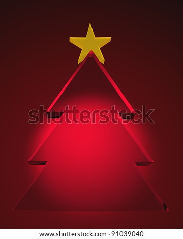 3d glass Christmas tree with yellow star on the top over red background.