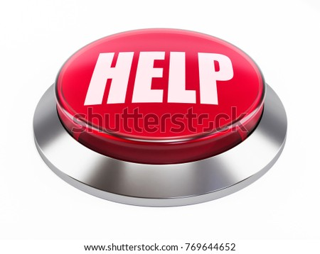 3d glass help button on white background 3d illustration