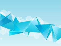 3d glass pyramids on an blue landscape background