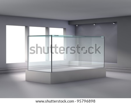 3d glass showcase and niche with spotlights for exhibit in the gallery