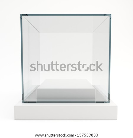 3d glass showcase isolated on white background