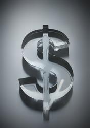 3D glass symbol of dollar.